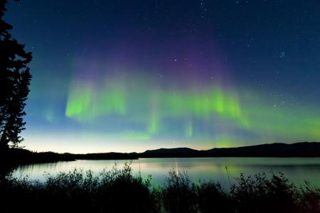 Tanzen Nordlicht Aurora borealis im Sommer über dem nördlichen Horizont des Lake Laberge Yukon Territory Kanada am frühen Morgen Standard-Bild - 23216191