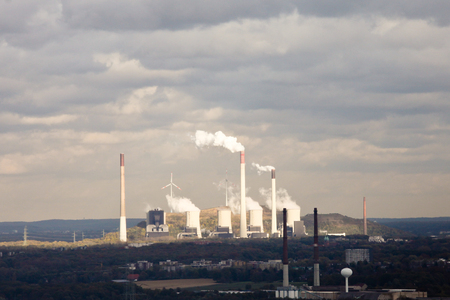 ruhr: Large conventional coal power plant and green energy wind turbine generators in industrial Ruhr area of Germany, Europe