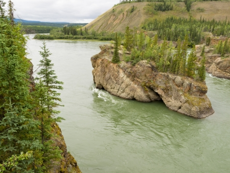 yukon: Treacherous Rock islands of Five Finger Rapids in Yukon River near town of Carmacks, Yukon Territory, Canada Stock Photo