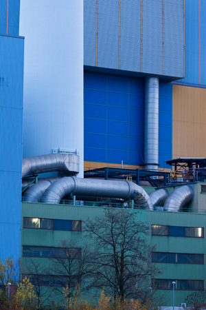 Building complex detail and exterior pipelines of modern waste-to-energy facility in Oberhausen, Germany, Europe photo