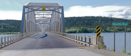 yukon: Steel bridge across Nisulin Bay of Teslin Lake, longest bridge on the Alaska Highway, 584 m, 1917 feet, Yukon Territory, Canada