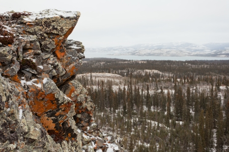 Orange lichens crusted rock over early winter boreal forest taiga wilderness landscape of Lake Laberge, Yukon Territory, Canada photo