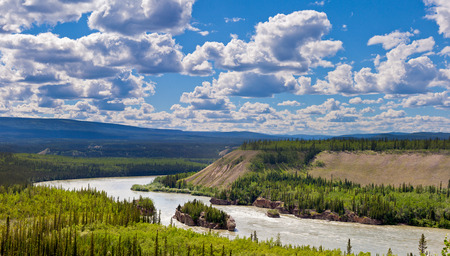 yukon: Hi-res landscape image of treacherous Five Finger Rapids of the Yukon River near town of Carmacks, Yukon Territory, Canada Stock Photo
