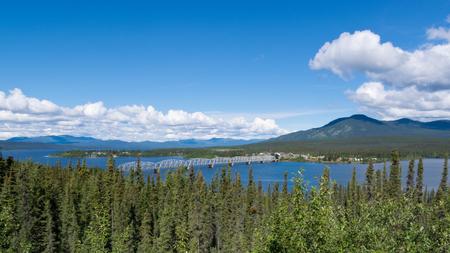 longest: Steel bridge across Nisulin Bay of Teslin Lake, longest bridge on the Alaska Highway, 584 m, 1917 feet, Yukon Territory, Canada