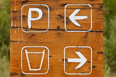 symbolized: Hand made wood sign board with one arrow pointing to parking area and a second arrow pointing in the opposite direction for drinking water symbolized by a full glass