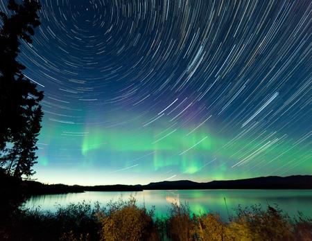 trails of lights: Percorsi astrofotografia stelle sul cielo di mezza estate di notte con aurora boreale o Northern Lights oltre riva salice cespuglio nel lago Laberge, Yukon Territory, Canada