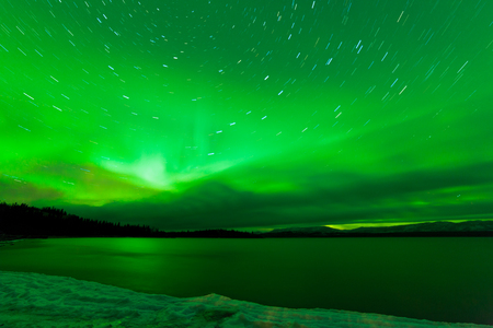 Green sparkling show of Aurora borealis or Northern Lights on starry night sky winter scene of Lake Laberge, Yukon Territory, Canada photo