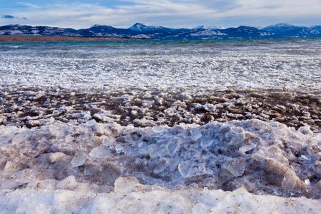 yukon territory: Shore ice during freeze-up of Lage Laberge, Yukon Territory, Canada, winter landscape Stock Photo