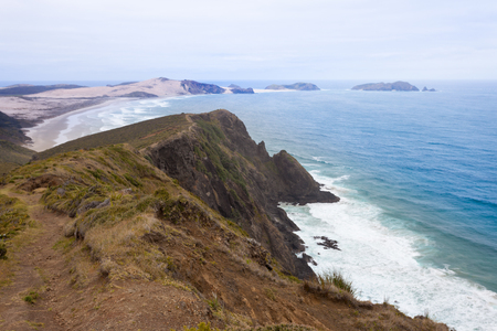 Deserted sand beach coast at Tasman Sea between Cape Reinga and Cape Maria van Diemen at northern tip of North Island of New Zealand photo