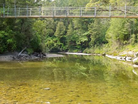 Swing bridge spanning Pororai River, West Coast, South Island, New Zealand, in lush green vegetation of sub-tropical rainforest