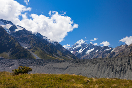 hooker: Aoraki Mount Cook National Park, glacial moraine in Hooker Valley with Aoraki Mount Cook in background, New Zealand