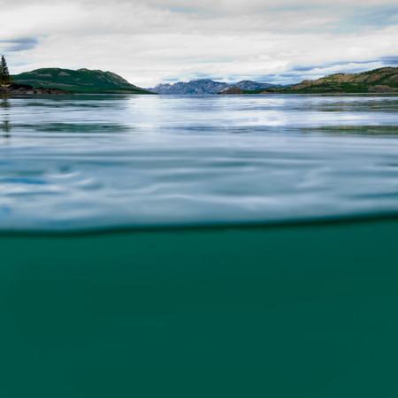 半水中半分以上、以上-[巨大ラバージ湖、ユーコン準州、カナダのショット分割を青い淡水および遠いショア北方林タイガ風景をオフ 写真素材