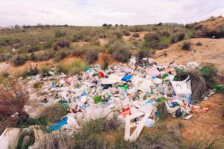 botar basura: Montón de basura vierten ilegalmente en el paisaje natural de contaminar el ambiente de la naturaleza