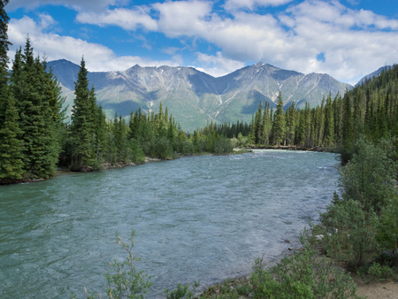 yukon: Scenic landscape of boreal forest taiga alpine mountain valley of Wheaton River, Yukon Territory, Canada