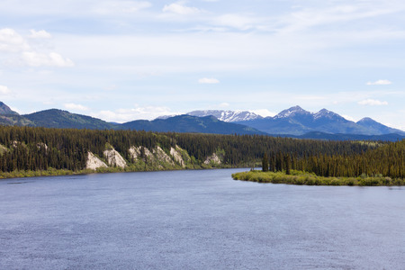 yukon: Boreal forest landscape of Teslin River just north of Teslin Lake, Yukon Territory, Canada