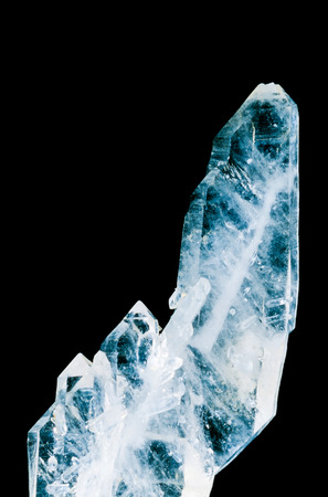 crystallization: Faden quartz is a usually tabular quartz crystal with a white thread or string in its interior. This specimen was found in Ramsbeck Germany Stock Photo