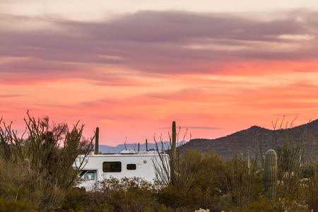 sonoran desert: Small motorhome RV parked on campsite in Sonoran Desert beside Saguaro Cacti
