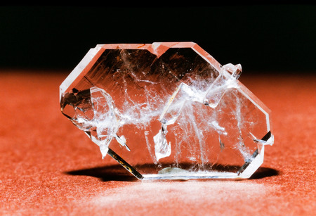 mineralized: Faden quartz is a usually tabular quartz crystal with a white thread or string in its interior. This specimen was found in Ramsbeck Germany Stock Photo