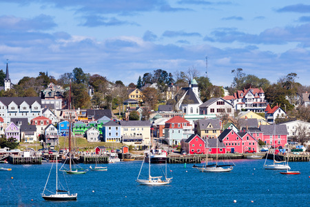 UNESCO world heritage site of historic downtown Lunenburg, Nova Scotia, NS, Canada at the Atlantic ocean