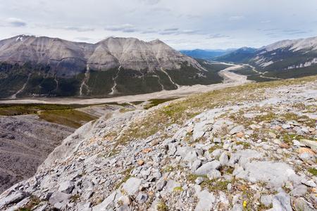 macdonald: Aerial view of MacDonald Creek valley and Alaska Highway in Stone Mountain Provincial Park, British Columbia, Canada Stock Photo