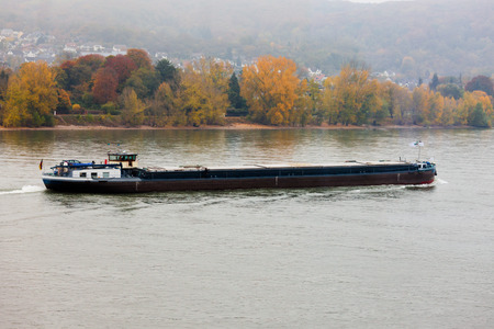 inland: Bulk-carrier barge on waterway river Rhine with autumn fall colored landscape on shore, North Rhine-Westphalia, Germany, Europe