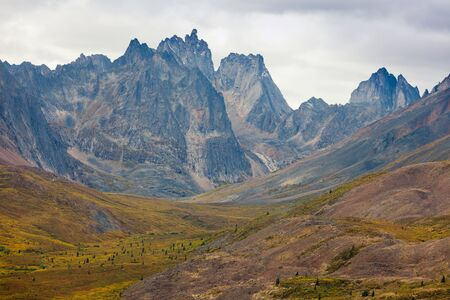 territorial: Autumn fall colors start to arrive in Tombstone Territorial Park near Dempster Highway north of Dawson City, Yukon Territory, Canada Stock Photo