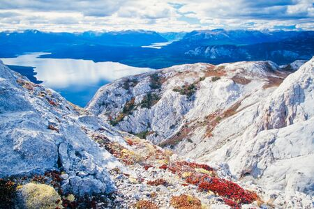 yukon: Tagish Lake in northern British Columbia near Yukon Territory border, Canada, seen from top of Cloutier Mountain Stock Photo