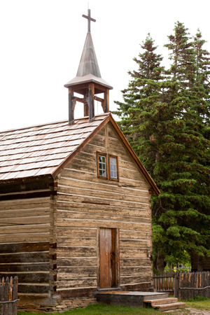 settler: Dunvegan, Alberta, AB, Canada, historic log cabin church Stock Photo