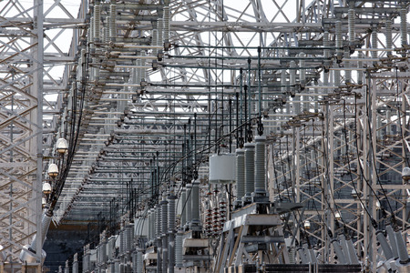 power grid: Energy industry background of confusing wiring of high-voltage transformer substation serving the power grid