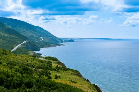 national scenic trail: Cabot Trail scenic highway winding through Cape Breton Highlands National Park, Nova Scotia, NS, Canada