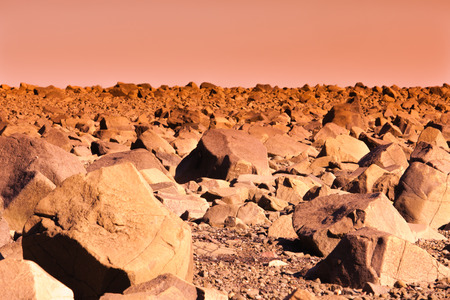 Desolate Martian landscape barren and empty except for rocks to the horizon