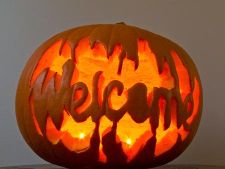 jack'o'lantern: Glowing Halloween Jack-o-lantern pumpkin with the word