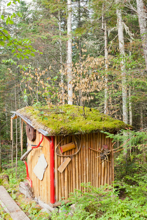 outbuilding: Fancy outhouse in the woods of Riviere-aux-Outardes, Quebec, Canada