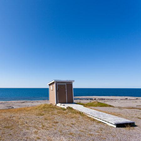 outhouse: Seaside Outhouse near Point Riche Lighthouse, Port au Choix, Newfoundland, NL, Canada