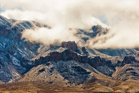 winter storm: After a winter storm swept Chihuahuan Desert bringing snow to Chisos Mountains in Big Bend National Park, Texas, USA
