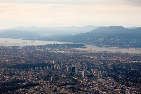 sprawl: Downtown Vancouver, British Columbia, BC, Canada, aerial shot from south of the city in fall 2015