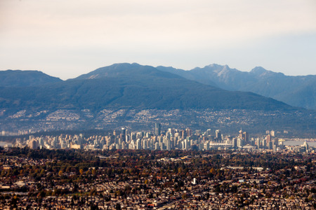 fluvial: Downtown Vancouver, British Columbia, BC, Canada, aerial shot from south of the city in fall 2015
