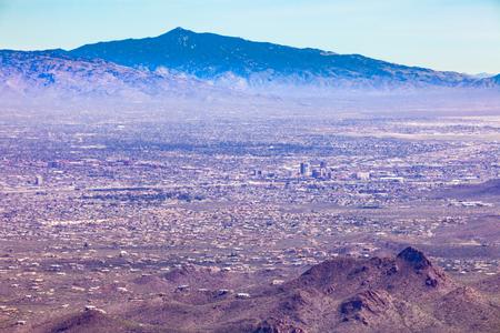 urban sprawl: Dry desert valley with sprawling city of Tucson in southern Arizona, United States of America, USA