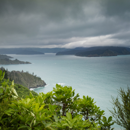 View of beautiful coastal landscape of New Zealand Marlborough Sounds, Cloudy Bay and Port Underwood Stock Photo