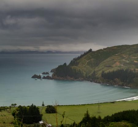 marlborough: Bad weather clouds over beautiful coastal landscape of New Zealand Marlborough Sounds Stock Photo