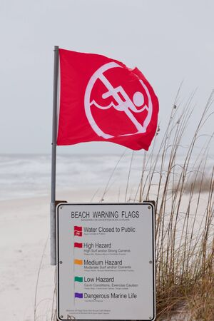 gusty: Red flag an sign on Gulf Coast Beach signal Water closed to public and prohibit swimming in ocean due to dangerous surf, undercurrent and storm conditions