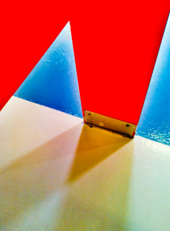 footing: Colorful architecture abstract of toilet stall detail in public restroom Stock Photo
