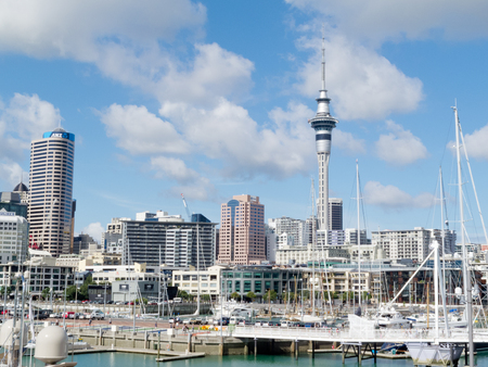 AUCKLAND, NZ, APR 16, 2012: Skyline of Auckland Central Business District with Sky Tower seen from Viaduct Harbor, on Apr 16, 2012 in Auckland, New Zealand