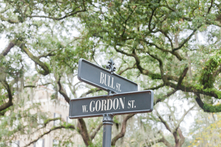 downtown district: Street name signs of Bull Street corner West Gordon Street under oak trees of Monterey Square in Historic District of downtown city of Savannah, Georgia, GA, USA Stock Photo