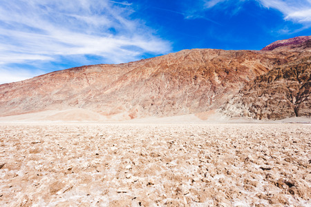 valley below: Dry salty crust of Badwater Basin lowest point below sea level of Death Valley desolate desert landscape, Death Valley National Park, California, CA, USA