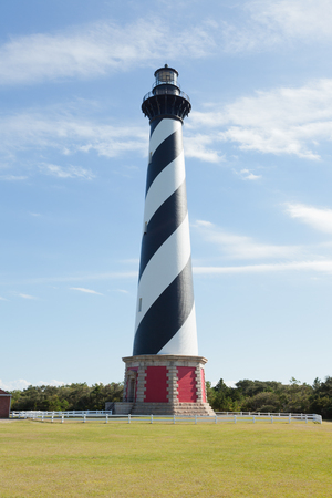 navigational light: Cape Hatteras Lighthouse historic marine navigational infrastructure building on Outer Banks OBX Hatteras Island near Buxton, North Carolina, US Stock Photo