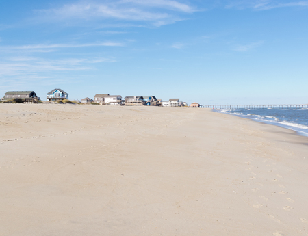 emty: Sandy beach and vacation village on Hatteras Island of Outer Banks, OBX, North Carolina, NC, US
