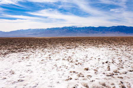 valley below: Badwater Basin salt crust lowest point below sea level and Panamint Mountain range with Telescope Peak of Death Valley desolate desert landscape, Death Valley National Park, California, CA, USA
