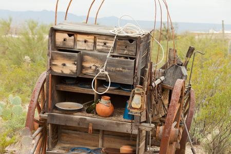 Historic horse cart kitchen left to decay in desert, history scene near Tucson, Arizona, AZ, USA