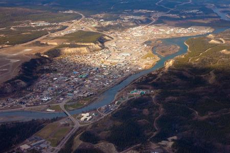 WHITEHORSE, YUKON TERRITORY, CANADA - SEPT 30, 2010: Aerial view of Downtown Whitehorse, Yukon Territory on Sept 30, 2010. Archivio Fotografico